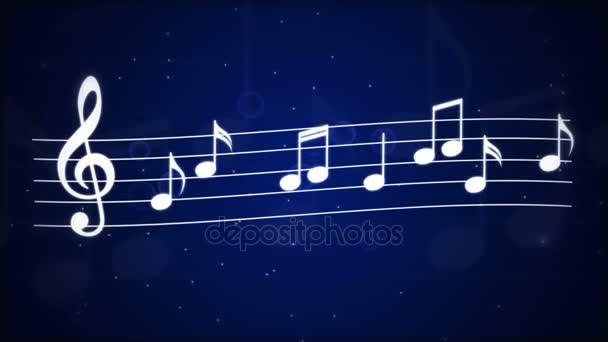 Dancing music notes on a blue background