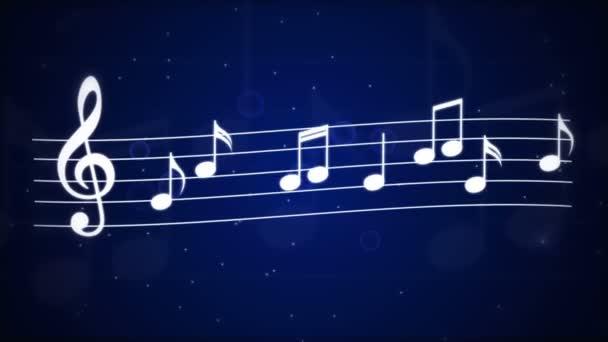 Tanzende Noten auf blauem Hintergrund