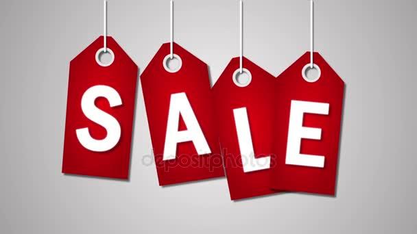 rote Preisschilder mit Verkauf und vierzig Prozent Rabatt auf weißem Hintergrund