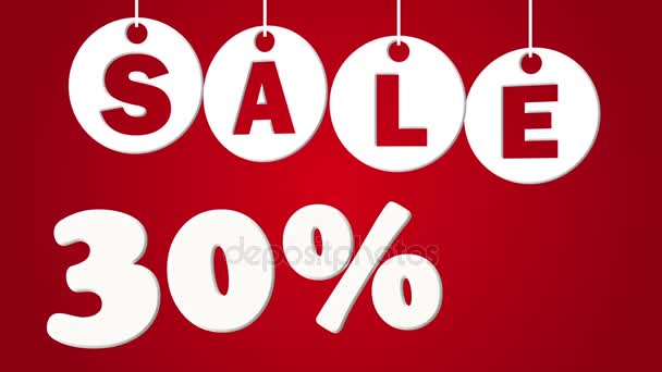 Verkauf und dreißig Prozent Rabatt auf rotem Hintergrund