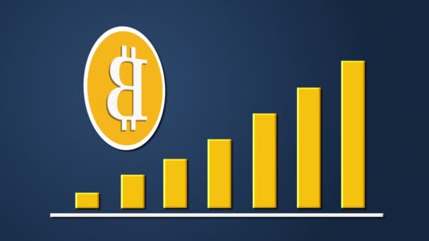 Bitcoin currency sign with growing chart