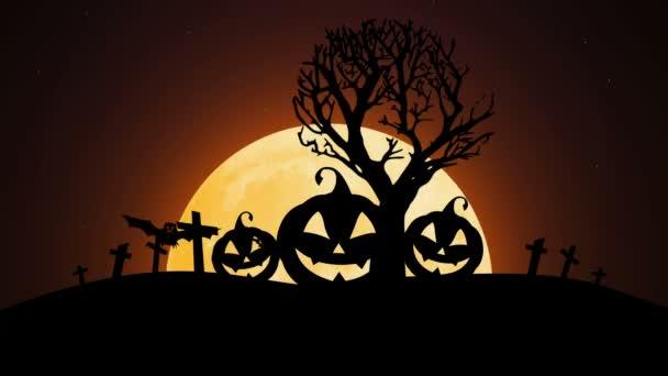 Veselý Halloween s dýní, měsíc a netopýři