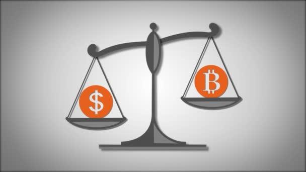 Váhy s symboly dolaru a Bitcoin
