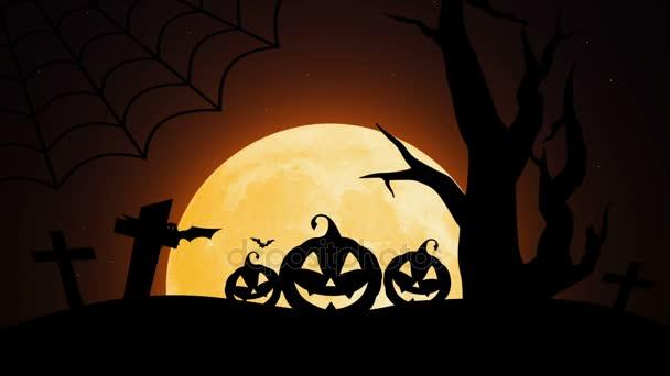 Boldog Halloween sütőtök, a Hold, a denevérek és a pók