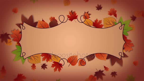 Autumn background with frame and falling leaves