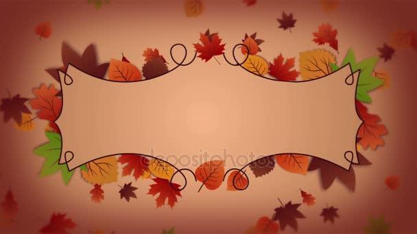 Priorità bassa di autunno con telaio e foglie che cadono