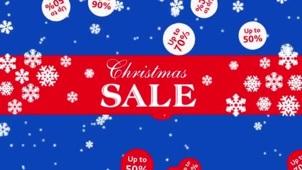 Vánoční prodej na modrém podkladu s sněhové vločky