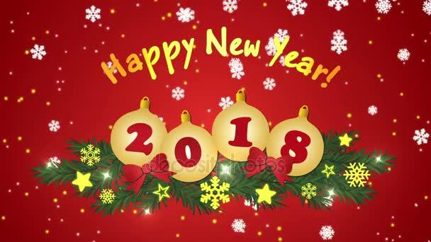 Šťastný nový rok 2018 s padající sněhové vločky a vánoční koule
