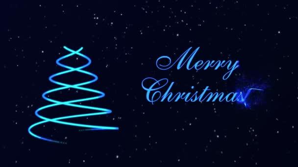 Veselé Vánoce vánoční stromek, zářící částice a sněhové vločky na tmavě modrém pozadí