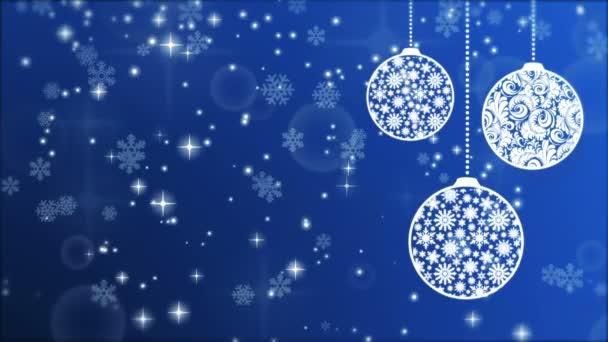 Nový rok modré pozadí s koule, sněhové vločky a zářící částice
