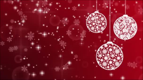 Sfondi Natalizi Mail.Sfondo Natale Rosso Con Palline Fiocchi Di Neve E Luminescenza Di Particelle