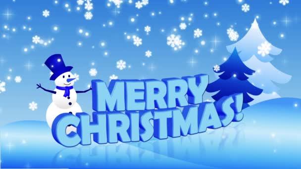 Boldog karácsonyt hóember és a karácsonyfa