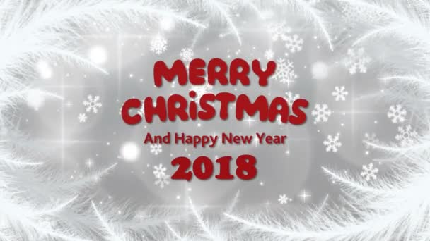 Merry Christmas and Happy New Year with frost patterns and snowflakes on the silvery background