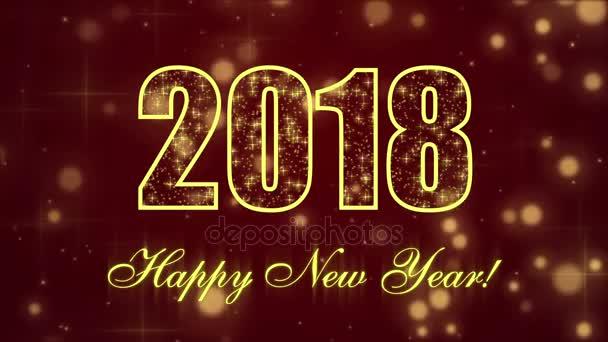frohes neues Jahr 2018 mit glühenden Teilchen auf dunkelrotem Hintergrund