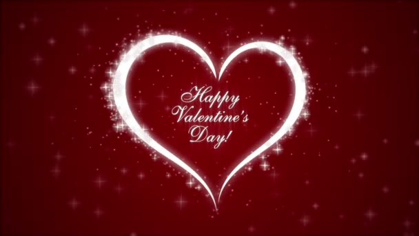 Happy Valentines Day with heart and glowing particles