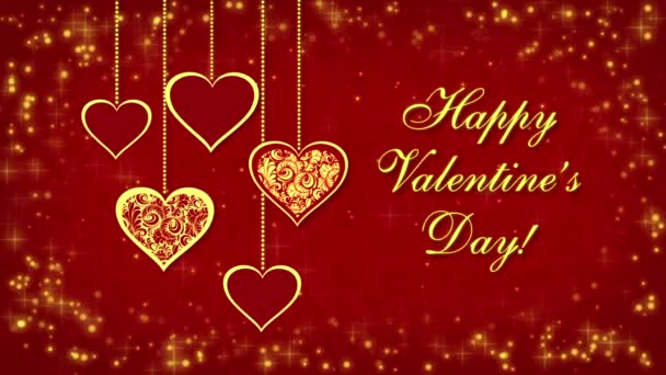 Happy Valentines Day with hearts and glowing particles