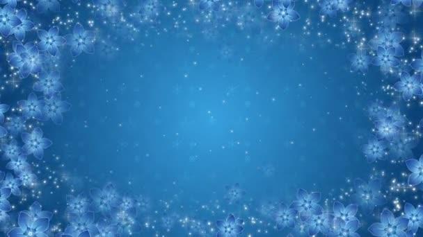 Modré pozadí s květy a zářící částice
