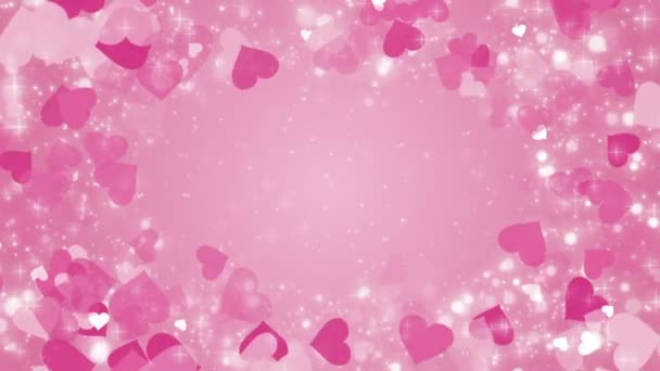 Pink background with a hearts and glowing particles