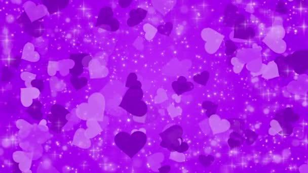 Lila háttér, egy szívvel és izzó részecskék