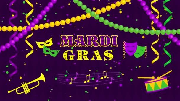 Mardi gras-maszkok és konfetti