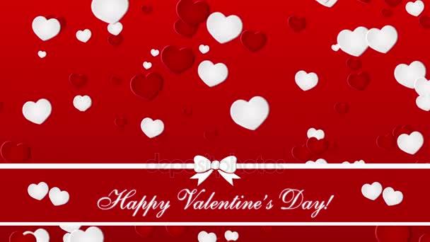 Šťastný Valentines den se srdce na červeném pozadí