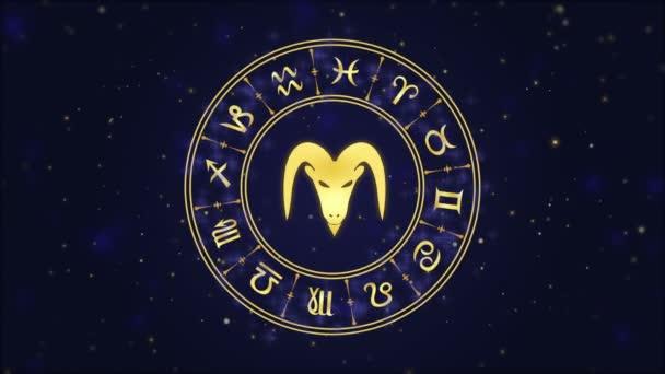 Tierkreiszeichen Steinbock und Horoskoprad auf dunkelblauem Hintergrund