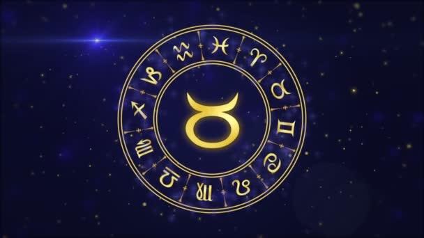 Sternzeichen Stier und Horoskoprad auf dunkelblauem Hintergrund