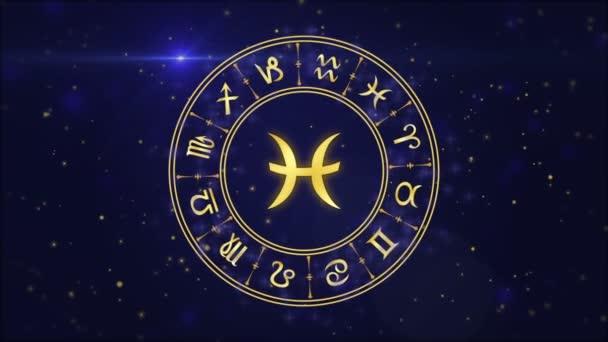 Sternzeichen Fische und Horoskoprad auf dunkelblauem Hintergrund