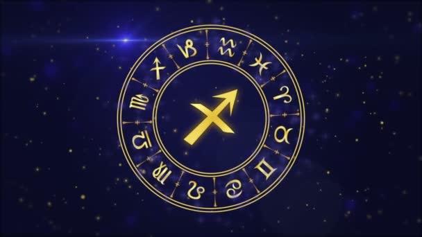 Zodiac sign Sagittarius and horoscope wheel on the dark blue background