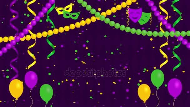 Ünnepi, farsangi háttér konfetti, maszkok és lufi