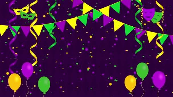 Slavnostní karneval pozadí s konfety, masky a balónky