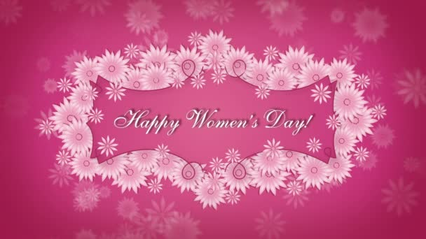 Happy Womens Day 8 march with flowers on the pink background