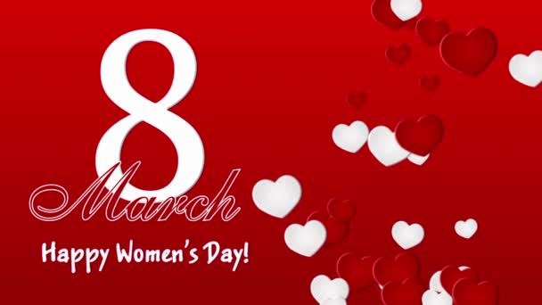 Happy Womens Day 8 march with hearts on the red background
