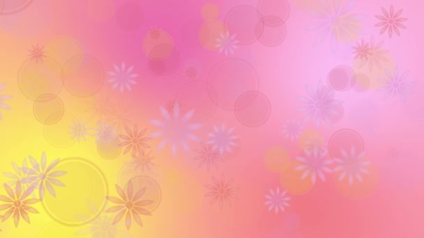 Barevné žluté růžové pozadí s květinami
