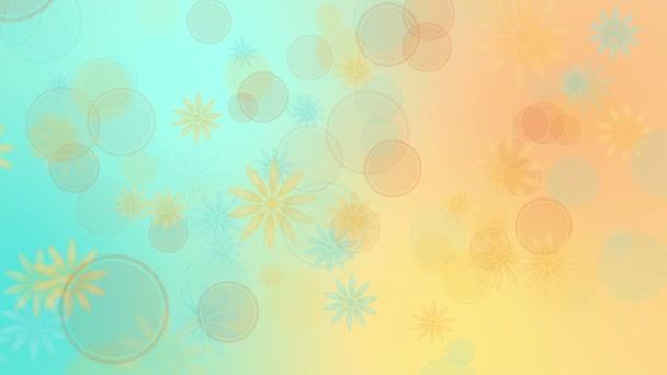 Színes kék sárga háttérrel a virágok