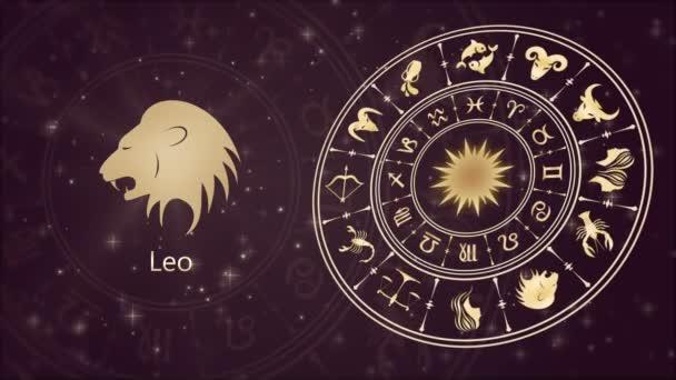 Zodiac sign Leo and horoscope wheel