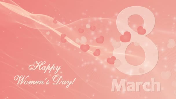 Happy Womens Day 8 march with hearts on the coral background