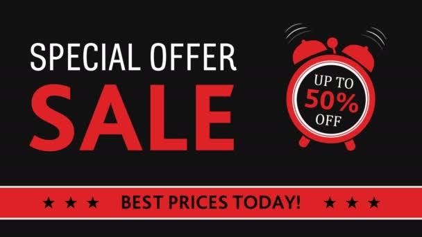 Verkauf, fünfzig Prozent Rabatt mit Wecker auf schwarzem Hintergrund