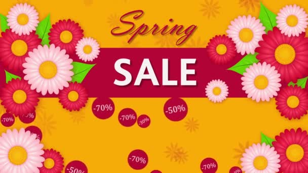 Spring sale, discount thirty, fifty and seventy percent on the yellow background with flowers