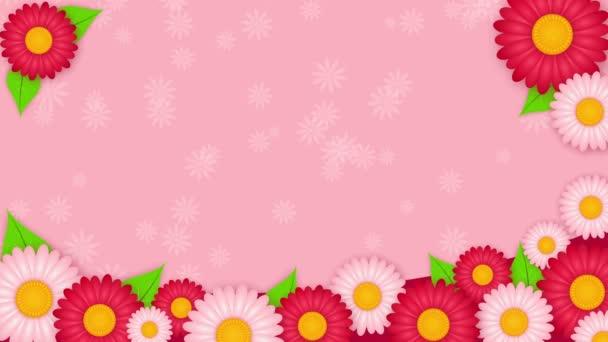 Absztrakt rózsaszín háttér, fehér és rózsaszín virágokkal