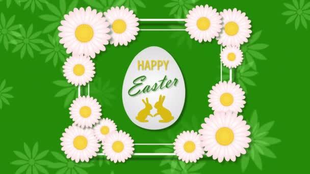 Frohe Ostern mit Ei und Kamille auf grünem Hintergrund