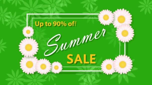 Letní výprodej, slevy devadesát procent na zeleném pozadí s květinami