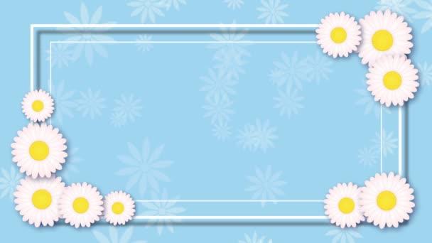 Světle modré pozadí abstraktní s rámem a bílé květy