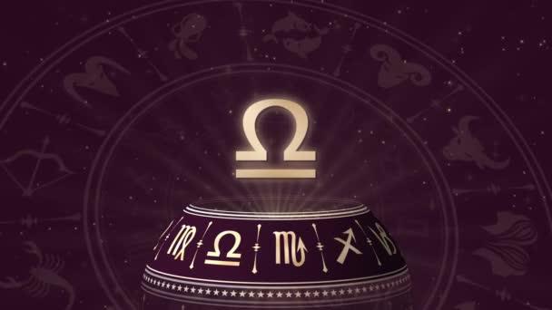 Zodiac sign Libra and horoscope wheel