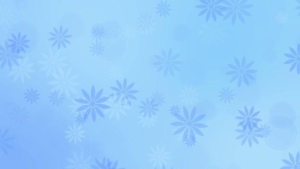 Barevné modré pozadí s květinami