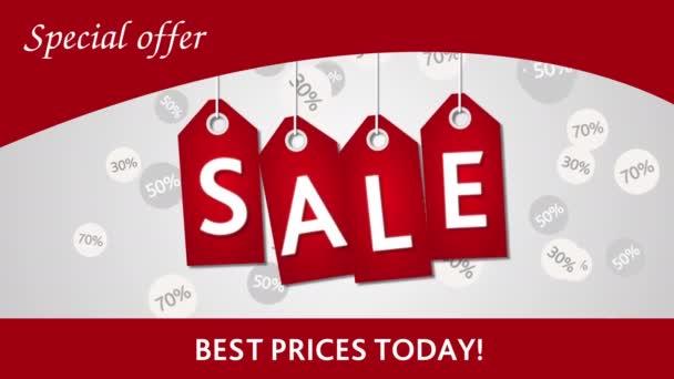 Verkauf, Rabatt, Sonderangebot auf rotem und grauem Hintergrund