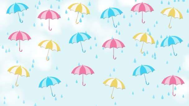 Abstraktní pozadí letní s deštníky a déšť
