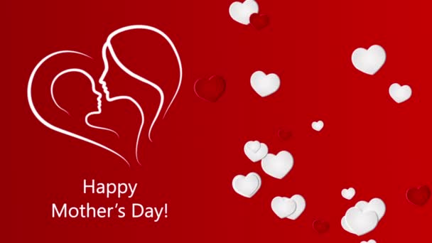Happy Mothers Day with hearts on the red background