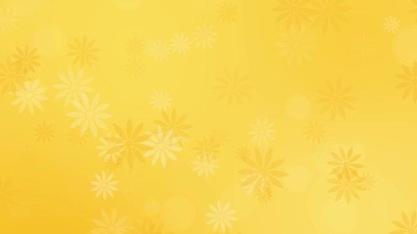 Absztrakt színes virágok sárga háttér
