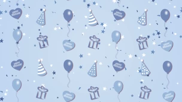 abstrakter Hintergrund alles Gute zum Geburtstag mit Luftballon, Party-Hüten und Herzen